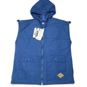New Woolrich Waxed Heritage Stag Vest, size M, blu